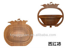 Natural bamboo fruit basket in tomatoes shape