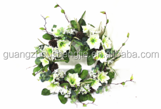 China supplier/SD2016A GUANGZHOU SHENGJIE New design magnolia wreaths /Fake flowers for christmas decoration