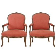 Pair of 19th Century Carved French Walnut Armchairs Living Room Furniture