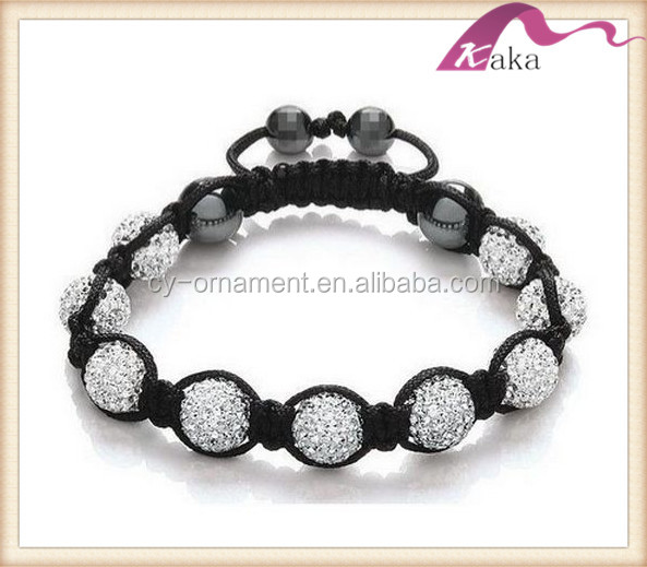 Fashion Shamballa Skull Bracelet With Alloy Beads And Crystal