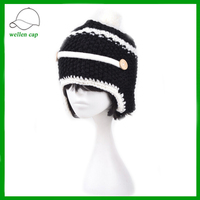 stylish pattern fastern earflap two colors knitted beanie hat for hot sale