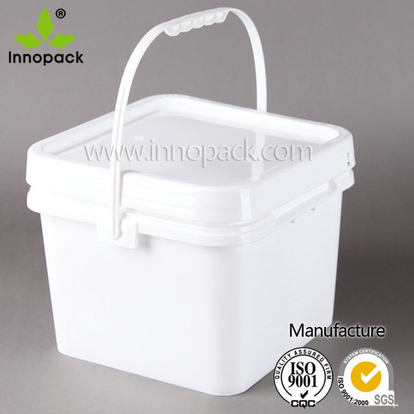 8 liter square plastic bucket food grade paint pail