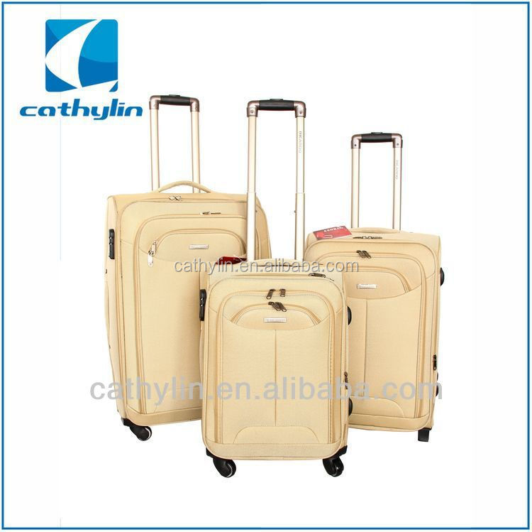 Cathylin 2015 aluminum trolley travel fabric nylon soft suitcase