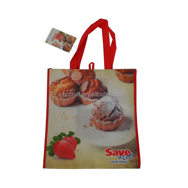 Custom promotion ice cream reusable non woven shopping bag with paper tag
