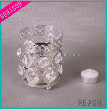 High quality acrylic Vacuum coating silver table candle holder for home decoration