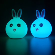 Usb charge led silicone color changing nightlight children's bedside night light for kids