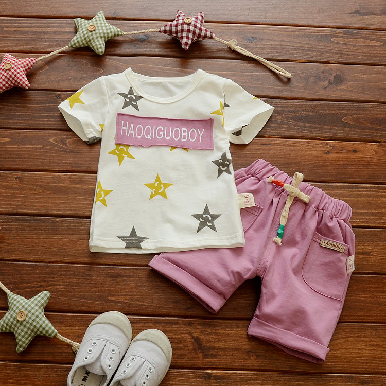 W6307 Baby Boys Clothing Set Children T shirt + Pants 2 pcs Kids Clothes Casual Suits