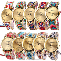 Women's Geneva Ethnic Cotton Blend Braided Analog Quartz Chain Bracelet Wrist Watch