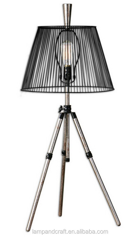 chrome shadeless High Quality Tripod Table Lamp with black empire lampshade mass production wholesale SAA CUL CE UL certificated