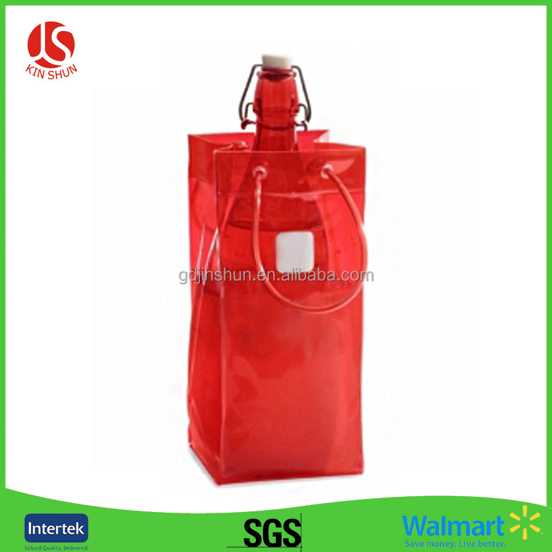 Clear Red Color Cheap Plastic Ice Putting Handle Bag foer Wine