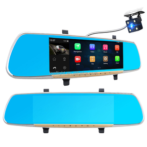 "6.86"" Touch Screen Car DVR Dual Camera Rearview Mirror Android 4.4 GPS Navigation FHD 1080P Dash Cam GPS"