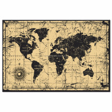 Large Size World Map Canvas Wall Art for Home Decoration Abstract Map Wall Art with Frame