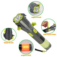 Multifunctional Rechargeable Flashlight Knife with Attrack Hammer for Camping(Battery Included)