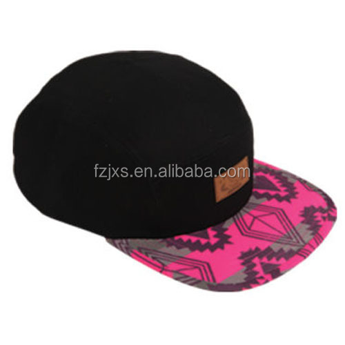 Black Military 5 Panel Strapabck Adjustable Hat Mens