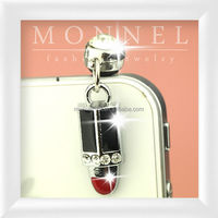 ip450-1 Monnel Lovely Silver Plated Red and Black Enamel Rhinestone Lipstick Phone 3.5mm Anti Dust Plug Cover Stopper Charm
