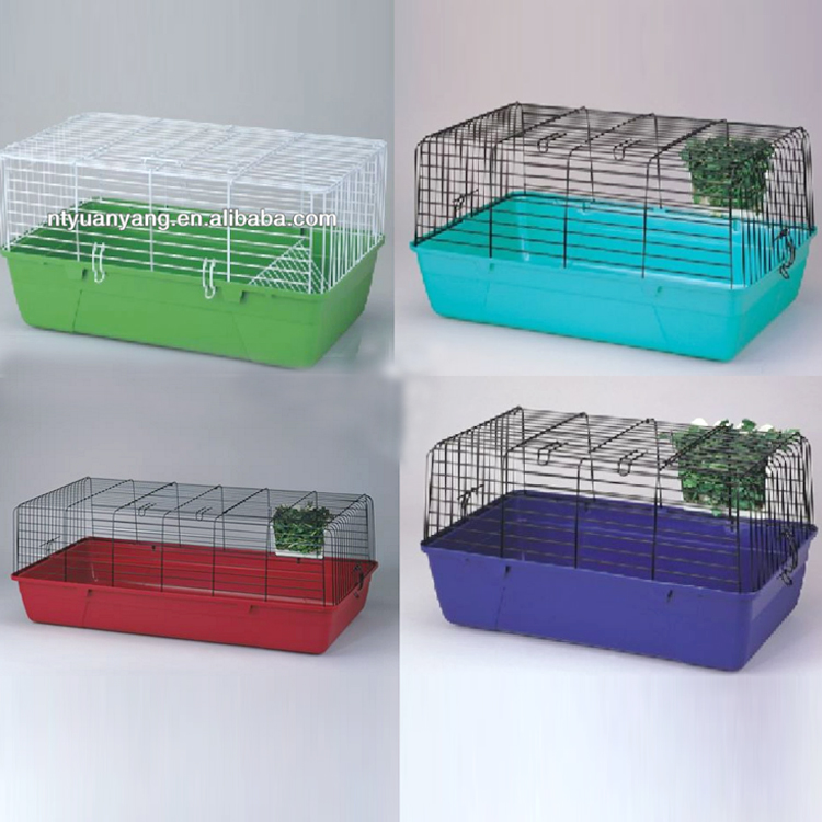 fold metal rabbit breeding dog training cage with red plastic tray wire