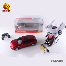 2.4G RC kid toy one key transformable car transform robot toy robot car