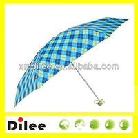 quality 5 folding pocket made in China green color check umbrella