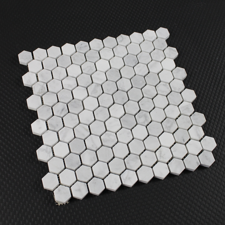 "Decorstone24 Carrera White Marble 1"" Hexagon Tiles Mosaic For Bathroom"