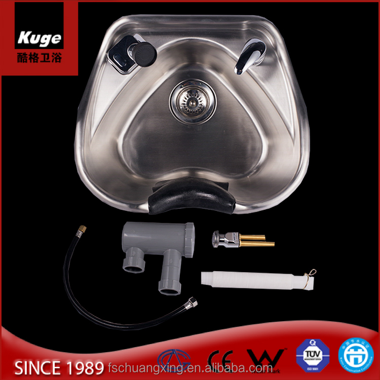chuang xing top sell stainless steel salon shampoo bowl heart shape hair salon wash basins