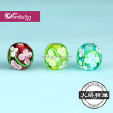 small hole beautiful flower Murano glass beads new style lampwork glass beads for charm bracelets