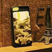Professional design OEM Camouflage PC China mobile phone case woth card slot for iphone 5/5s,camouflage phone cases