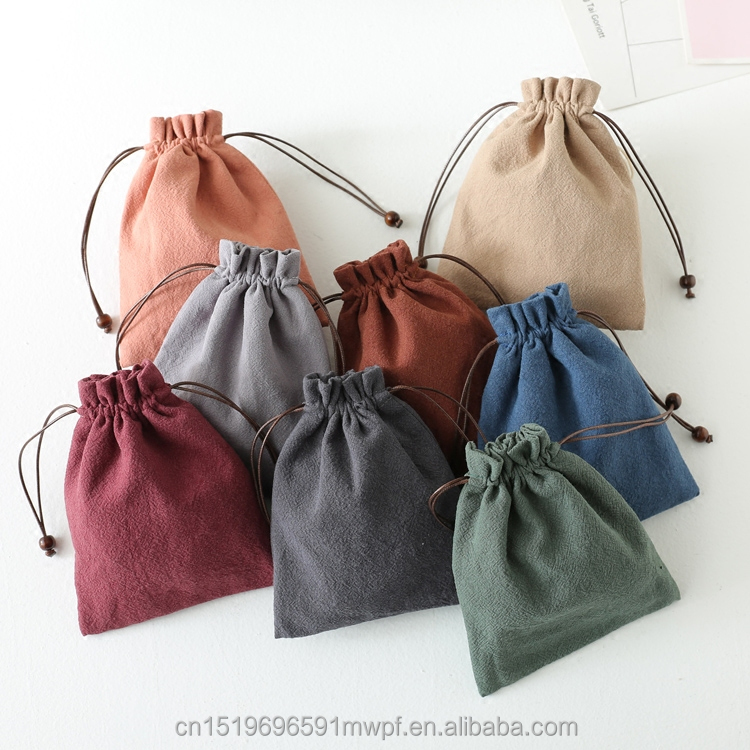Colorful Cotton Linen Fabric Jewelry Pouch with Drawstring