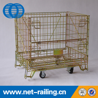 Steel rolling metal storage cage with wheels