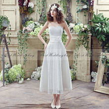 Wholesale Sweetheart Sleeveless Lace-Up Tea-Length Lace Wedding Dress SQS038