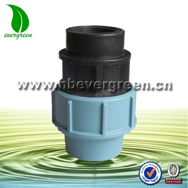 PP compression fittings for PE pipe fitting plastic female adaptor