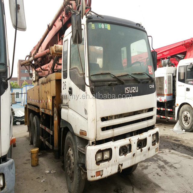 Putzmeister 37m used Concrete pump truck Japan's original mobile concrete mixer with pump hot sell