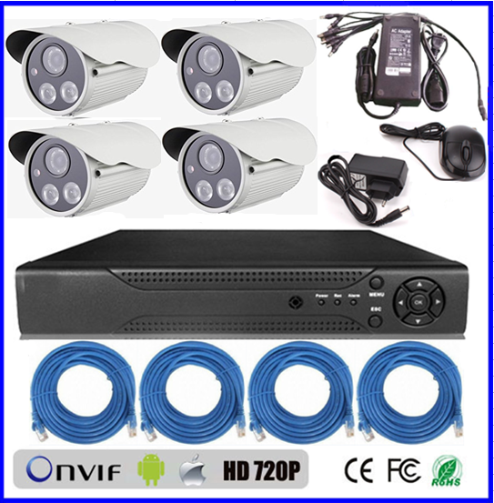 cctv kit 2mp OEM security system HD Night Vision P2P 4ch ip camera nvr network 4ch cctv dvr kit (BS-NK07)