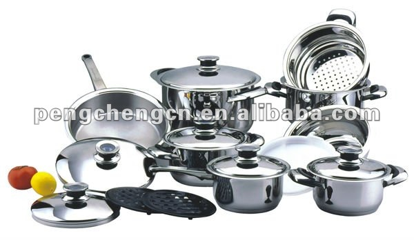 cookware set stainless steel 18pcs
