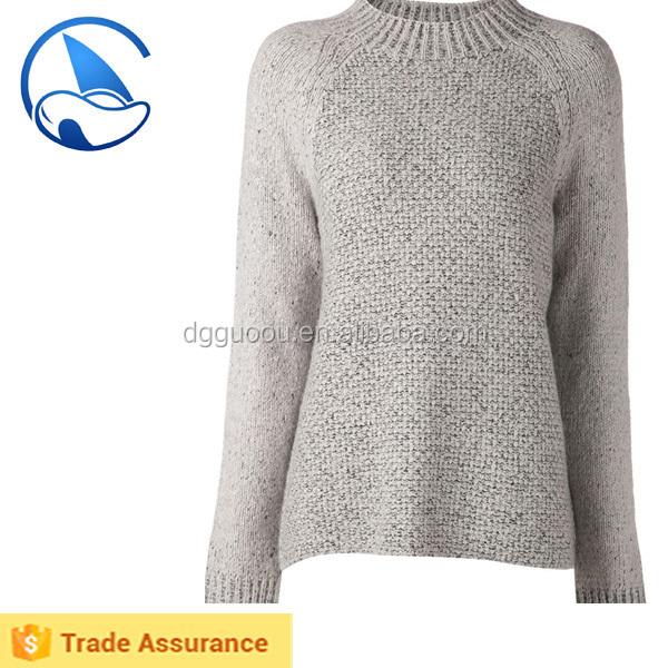 High fashion women knitted turtle neck sweater, whole sale mixed yarn jumper