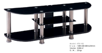 Black Tempered Glass with Stainless Steel Tube TV Stand