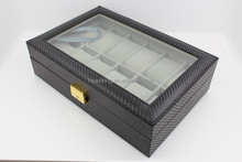 Personalized 12 slot wooden watch box with all PU interior Leatherette Watch Box carbon fiber