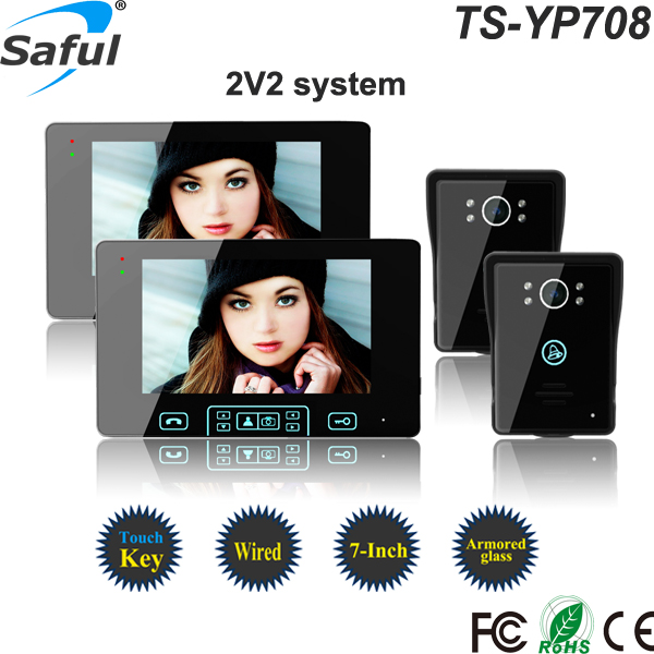 Saful TS-YP708 Wired Video Door Phone Intercom System with Touch Key for Apartment