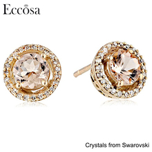 Eccosa 10K Rose Gold Round Earrings with Diamond Halo Made with Crystals from Swarovski