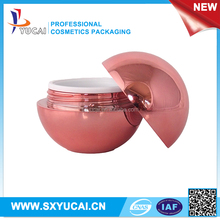 1oz luxury spherical plastic cosmetic packaging double wall red acrylic container 30ml ball shape cream jar