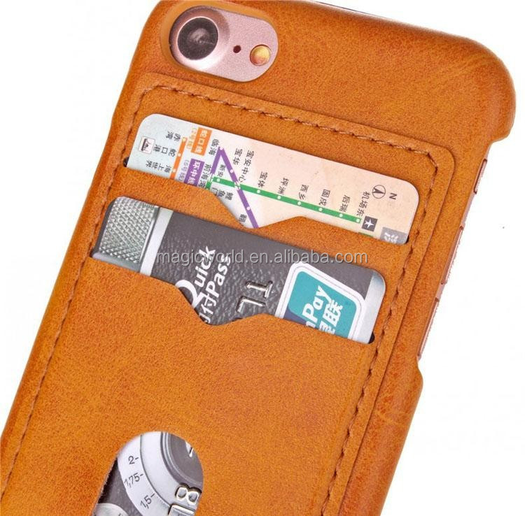 For Iphone 7 Card Slot Leather Skin Soft Tpu Case