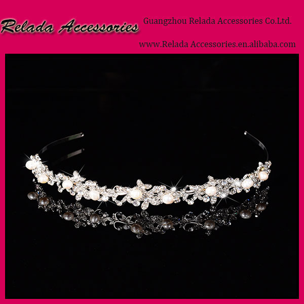 Factory Wholesale Elegant Bridal Rhinestone and pearl hair accessoires tiaras making real diamond crowns and tiaras for bridal