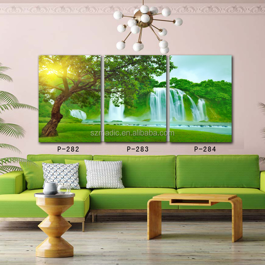 Modern Wall Art Printed Oil Painting Wall Pictures for Living Room Tree in Sunshine Waterfall Natural Scenery Canvas Prints