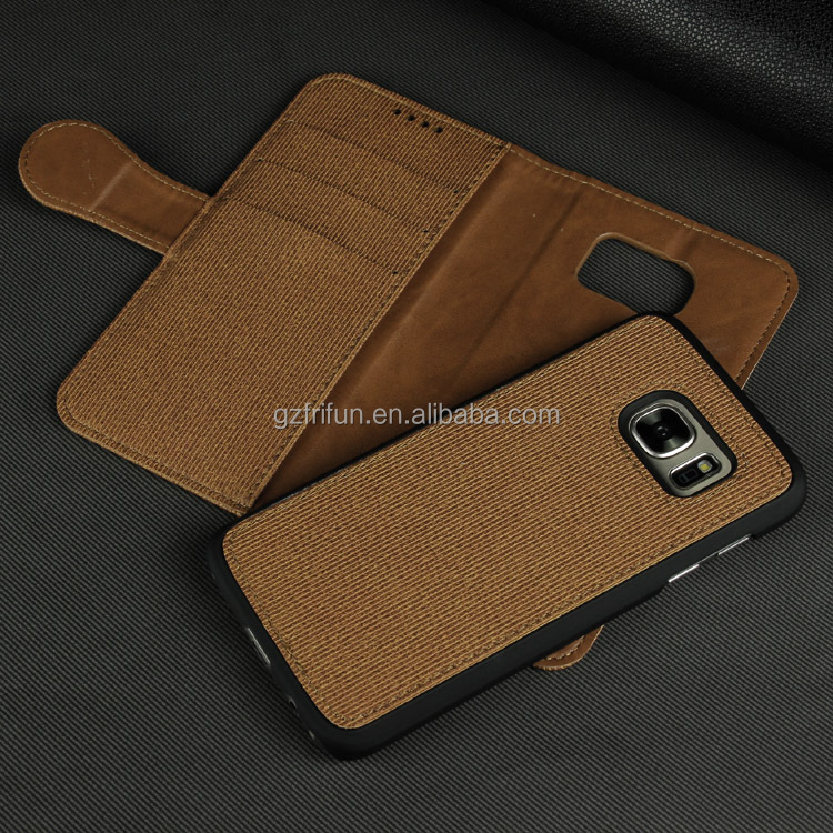 Brown Leather Phone Business Cover for Samsung Galaxy S7 Two Mobile Phones Leather Case