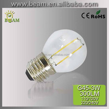 170-260V 6W E27 CE/EMC Glass cover COB G45 LED Filament bulbs, energy saving led light
