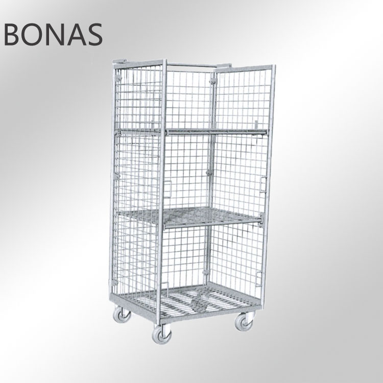 Hotel laundry cart, steel laundry cage, rolling cage cart