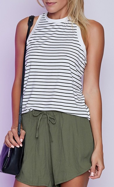2017 fashion lady singlet striped sleeveless t shirt high neck stringer women tank top