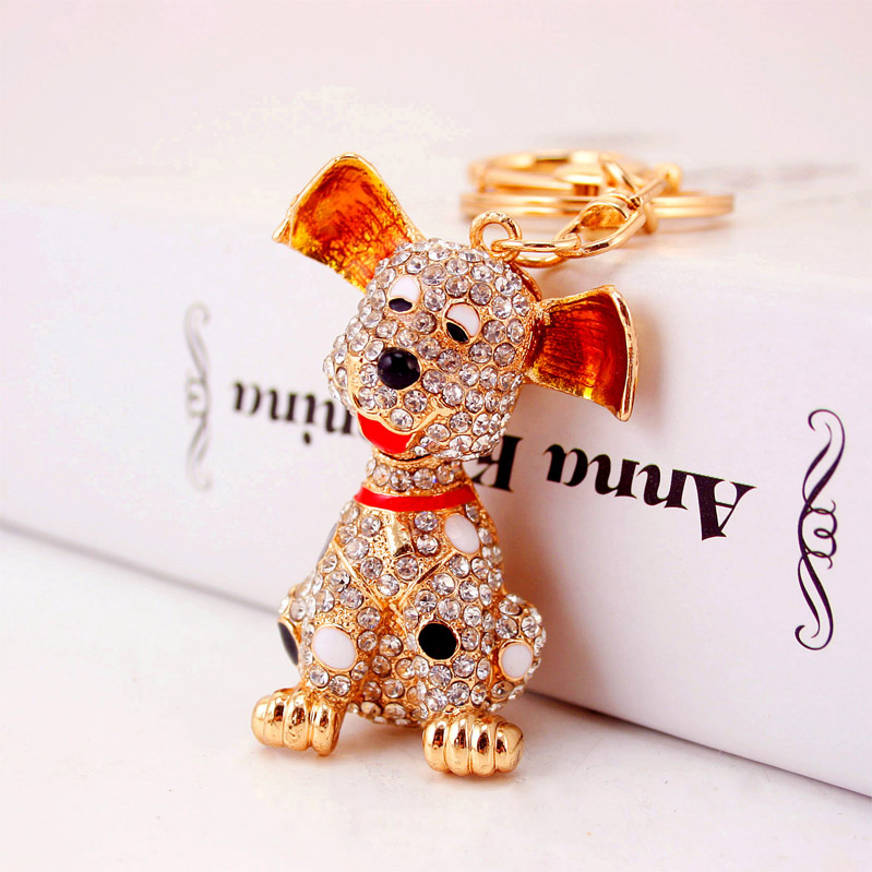 Hot sale Fashion Women Crystal Rhinestone Puppy Dog Keychain With High Quality Luxury Keychain SK2919