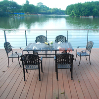 Classic cast aluminum outdoor patio furniture six chair table set