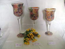 colorful tall mosaic glass candle holder
