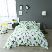 luxury 100 cotton cactus printing 4pcs kids bedding set
